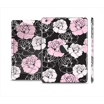 The Pink and Black Rose Pattern V3 Skin Set for the Apple iPad Mini 4