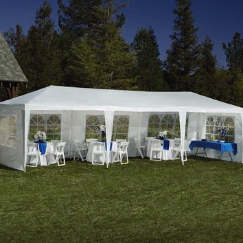 10'x30' White Canopy Wedding Party Tent BBQ Outdoor Gazebo 5 Removable Walls