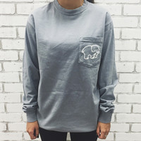 New Long Sleeve T-shirt Woman Shirt Grey Ivory Ella Print Cartoon Animal Elephant Brand Cute