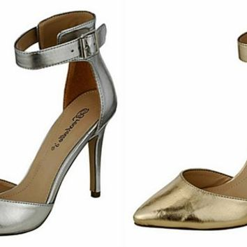 Breckelles Isabel 01 Pointy Toe Ankle Strap Stiletto Pumps Gold or Silver | shoes heels high heel shoes trendy shoes stilettos
