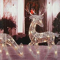 3-Piece White Glittered Doe, Fawn and Reindeer Lighted Christmas Yard Art Decoration Set