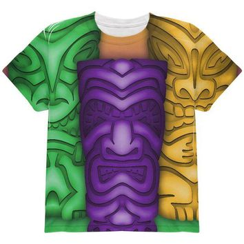 DCCKU3R Mardi Gras Tiki Glass Party All Over Youth T Shirt