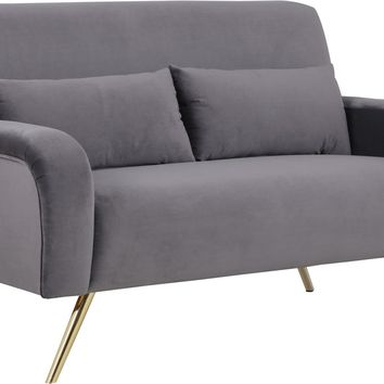 Clarissa Grey Velvet Loveseat
