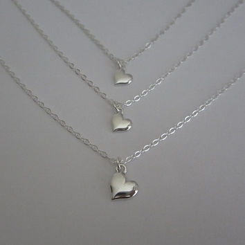 Sterling Silver Heart Necklace. Silver Family Keepsake Gift. Matching Mother Daughter Necklace Set. Sister Jewelry. Sterling Silver Heart.
