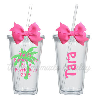 Palm Tree Bachelorette Party Tumbler! Personlized for each girl! bachelorette cup, maid of honor, flower girl, bridal party, desitination