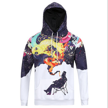 Smoking Art All Over Print Me & My Art Blue White & Purple Hoodie
