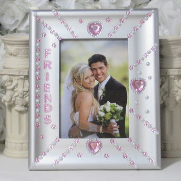 Friends Gifts - Best Friend Gifts - Birthday Gifts - Pink Frame - Silver Frame - 5x7 Frame - Gifts For Her - Heart Gifts - Flower Gifts