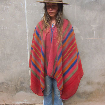 The Sweet Thunder Vintage Alpaca & Wool Peruvian Poncho