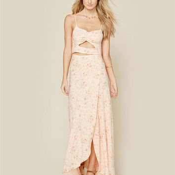 Fashion Floral Print Irregular Hollow Sleeveless Strap Maxi Dress