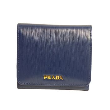 Prada Women's Wallet Vitello Move Bi Fold Blue 1MH176