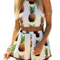 Women's 2-Piece Pineapple Pattern Halter Crop Tops Shorts