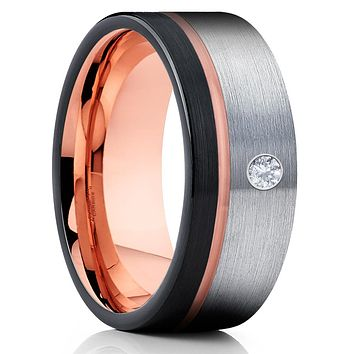 Rose Gold Tungsten Ring - White Diamond Ring - Rose Gold Tungsten - Black Ring