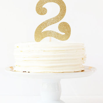 Gold Glitter Cake Topper Girls Birthday Party Decorations Number Age Cake Topper Gold Glitter Party Supplies Second Birthday Gold and White