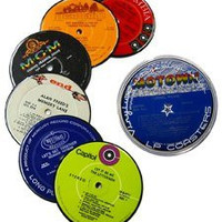 Recycled Vinyl Record Label Coasters