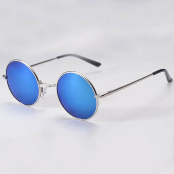 Hippie Man Retro HD  Sunglasses Round Lens Metallic Reflective Mirror Vintage Glasses Eyewear