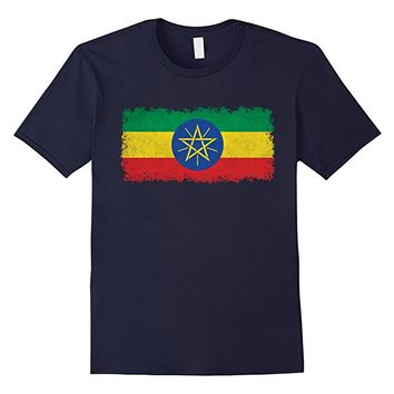 Ethiopian Flag T-Shirt in Vintage Retro Style