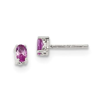925 Sterling Silver Rhodium-plated 5x3mm Oval Created Pink Sapphire Post Earring