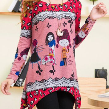 Pink Long Sleeve Girl Printed Sweater