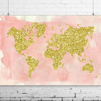 "Gold World Map Wall Print, 24x16"", Watercolor Style World Map Poster - Travel Decor - Pink World Map - Nursery Decor,  INSTANT DOWNLOAD"