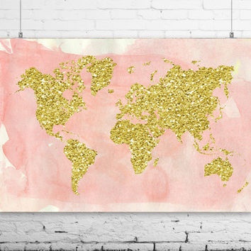 Best gold world map poster products on wanelo gold world map wall print 24x16 watercolor style world map poster travel gumiabroncs Images