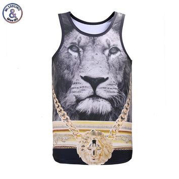 Mr.1991INC Newest Fashion Men/women tank tops 3d print Golden Medal Lion King 3d vest summer tops tees