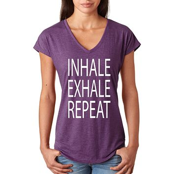 Inhale Exhale Repeat Triblend V-neck Yoga Tee Shirt