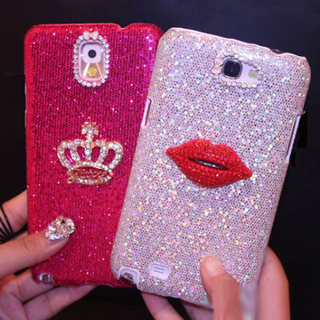 Fashion Bling Diamond Kiss Lip Crown Case For Iphone 7 6 6S Plus 5S SE 5C 4 Samsung Galaxy Note 7 5 4 3 2 S7 S6 Edge Plus S5/4/3