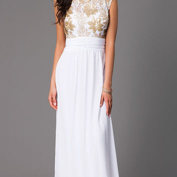 Floor Length Sleeveless Dress with Sequin and Lace Bodice