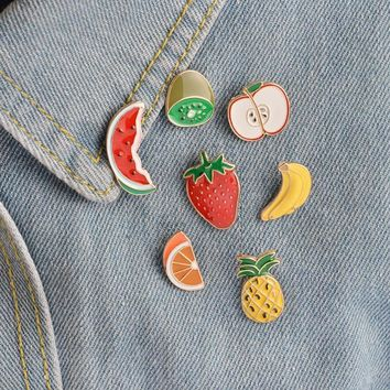 Trendy 1 pcs cartoon fruit watermelon metal badge brooch button pins denim jacket pin jewelry decoration badge for clothes lapel pins AT_94_13
