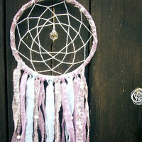 Dream Catcher - Pure Flowers - With Crystal Prism, Purple, Blue and Patterned Textiles and White Feathers - Boho Home Decoration