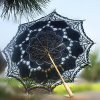 Fashion Embroidered Lace Parasol Sun Umbrella Top Quality Wedding Bridal Bridesmaid Party Show Stage Dancer Actress Decoration H106
