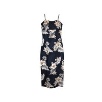 Blueberry Navy Long Hawaiian Skinny Strap Floral Dress