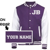JUSTIN BIEBER JB LETTERMAN BASEBALL VARSITY JACKET NAME PERSONALISED JBV04