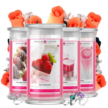Valentine's Day Jewelry Candle 4 Pack & Wax Rose Dozen