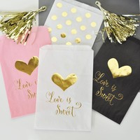"""""""Love is Sweet"""" Gold Foil Candy Buffet Bags (Set of 12)"""