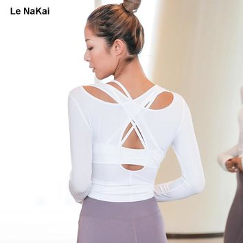 Le NaKai Cross back sexy yoga shirts fitness open back cut out sports top shirts long sleeve breathable backless gym workout top