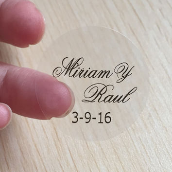 120 pcs 3cm customize Personalised clear Birthday baby shower Wedding Invitation Envelope Sticker Seals Monogram You pick design