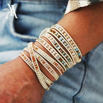 Colorful Beads Meditate Meditation Yoga Bracelets & Bangles Fashion Weave Wax Rope Resin Charm Bracelets for Women Men Jewelry