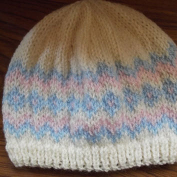 Baby hat - cream with pink and blue Fair Isle - age 3-6 months - Christmas/gift/baby shower/winter/autumn/christening - special gift