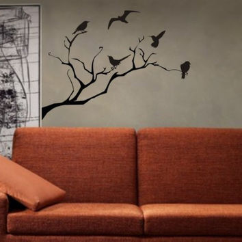 Birds and Tree Branch Decal Sticker Wall child boy girl nursery nature teen