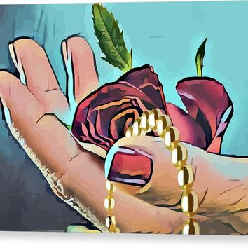 Hand With Red Rose And Pearls Canvas Print