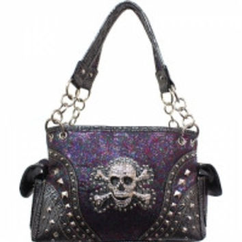 Skull & Crossbones with Glitter Handbag