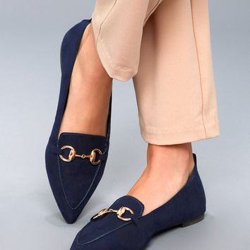 Charlotte Navy Suede Loafers