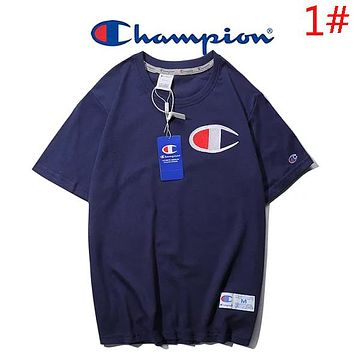 Champion Summer New Fashion Bust Embroidery Logo Women Men Leisure Solid Color Camouflage Top T-Shirt