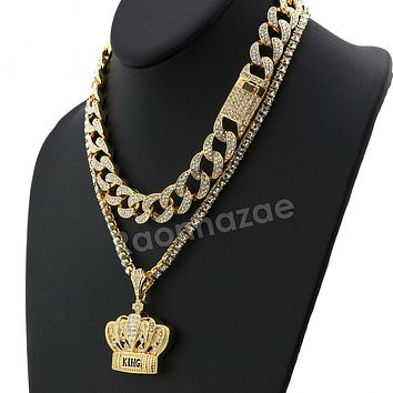 Hip Hop Iced Out Quavo Crown Miami Cuban Choker Chain Tennis Necklace L53