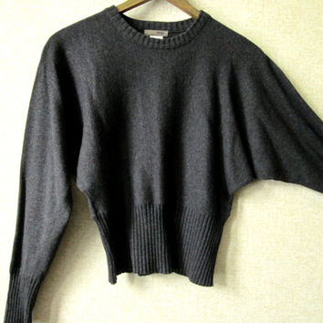 Charcoal Grey Sweater cotton pullover dolman batwing sleeves cropped high waist long sleeves sweatshirt knit vintage 90s J Crew women small