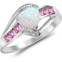 Natural Firey Opal, Pink Sapphire & Diamond 10K Solid White Gold Ring