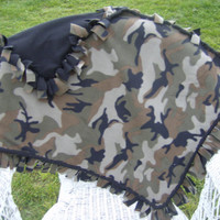 Camo Baby Blanket with Black Fleece