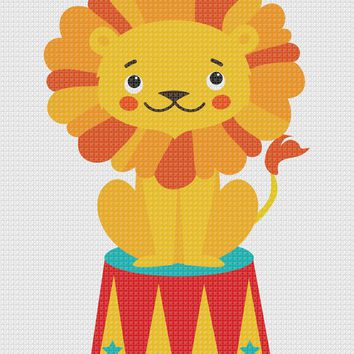 Copy of Contemporary Circus Lion Hand Embroidery Pattern