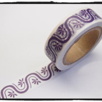 Washi tape - Purple Floral & Wave- 15mm Wide - 11 yards  WT417